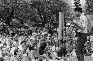 Pete Seeger old playing outdoors